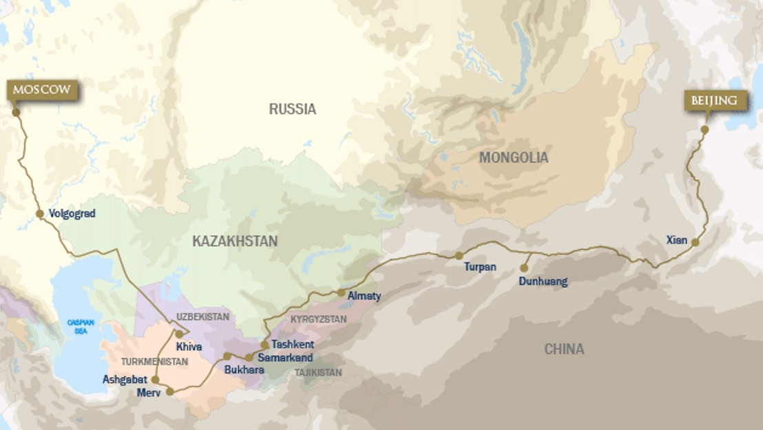 Golden Eagle silk road westbound map
